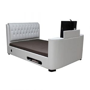 6Ft Tv Bed Rio White Faux Leather Finish