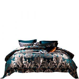 BB.er Home textile villas de luxe haut de gamme large soie lourde mûrier bleu literie fil teint 100 soie quatre pièces, 1.8 m