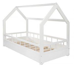 Lit maison cabane 2 en 1 avec barreaux, chambre d'enfant, bois naturel 160×80 cm (blanc)