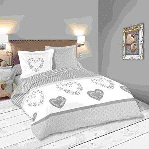 Lovely Casa Manoir Housse de couette 260 x 240 cm avec 2 Taies d'oreiller 63 x 63 cm, Coton, Gris
