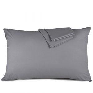 Taie d'oreiller 50×70 cm – Lot de 2 100% Microfibre Super Douceur, Anti-acariens et Hypoallergénique (Gris) Duractron