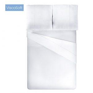 Viscosoft Housse de Couette en Microfibre avec Finition Venise (Blanc, 220_x_240_cm) + 2 taies d'oreiller