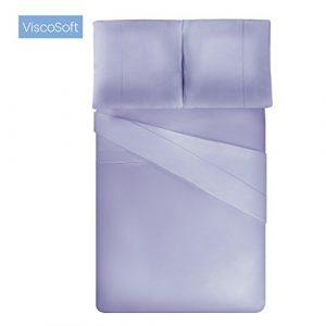 ViscoSoft – Housse de Couette en Microfibre avec Finition Venise (Lilas, 220_x_240_cm) + 2 taies d'oreiller