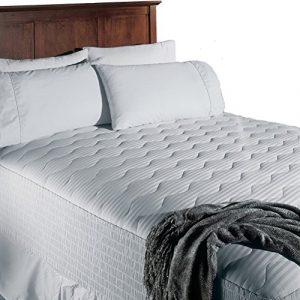 Ecowonder Matelas Pad, Premium hypoallergénique Fibre de polyester, coton Dessus, taille Queen, Coton, blanc, Twin XL