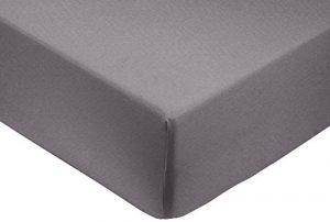 AmazonBasics Drap-Housse en Satin de Coton 400 Fils Anti-Plis, Gris foncé, 135 x 190 x 30 cm
