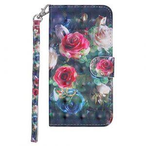BONROY Xiaomi Mi 6 Etui Cuir-Etui à Rabat Portefeuille de Carte Slots Support Case Cover Housse [Style d'impression] – (RX-3D Peint en Rose)