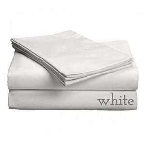 Gotcha Luxe Collection 618 CT Satin de coton peigné tissage profonde Profil jusqu'à 45,7 cm Pocket Sheet Définit Split CAL King Blanc