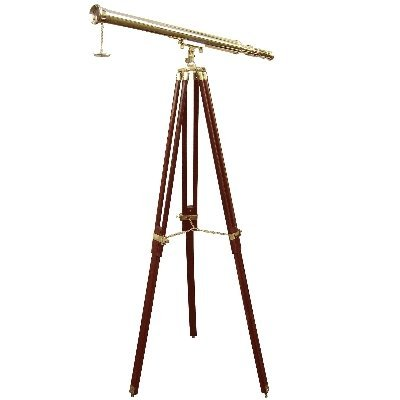 ProPassione Telescope with Tripod, magnification x 10, l 100 cm, tripod brown/brass fittings, Dimensions: h 160 x Ø 95 cm by ProPassione