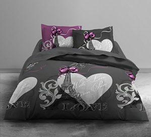 TODAY Parure de lit Coton Gris/Rose 220 x 240 cm