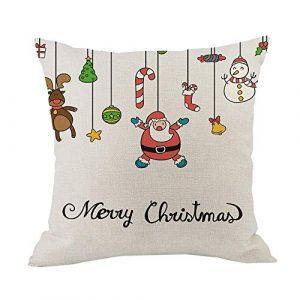 Tleegu Coque Polyester, Santa Renne Coton Lin de Noël Taie d'oreiller Canapé de Voiture, Coton, o, Taille Unique