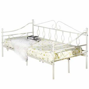 Aingoo Lit Banquette Canapé lit Simple en Métal Lit de Jour, Lit de Loisirs pour Enfants ou Adulte 90x190cm, Blanc