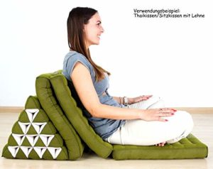 AINY 3 Fois 180cm de Long 55cm de Largeur Coussin thaïlandais avec XXL Géant Asiatique Coussin Triangle/Appui-tête 100% Kapok Remplissage pour Le Bien-être et Relaxation,Vert