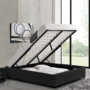Designetsamaison Lit avec Coffre de Rangement Noir avec sommier 180 x 200 cm – Eveil