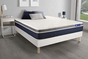 Ensemble ACTILATEX Confort Matelas Latex+mémoire de Forme 200×200 cm Maxi épaisseur 7zones de Confort + sommier KIT Blanc – Epaisseur : 26 cm – Confort : Mi-Ferme