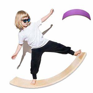 lxfy Balance en Bois Wobbel pour Yoga Curvy Board, Formation Balance Toy Indoor Curved Board, Rocker en Bois avec Tissu en Feutre, balançoire en Bois pour Enfants sensorielle