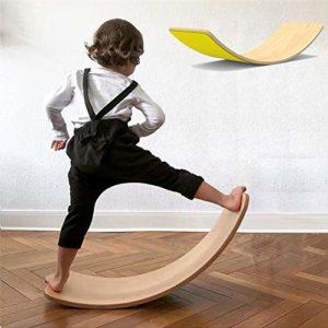 lxfy Planche d'équilibre en Bois Wobbel pour Yoga Curvy Board – Rocker en Bois avec Tissu en Feutre, Formation Balance Toy Indoor Curved Board, balançoire en Bois pour Enfants sensorielle
