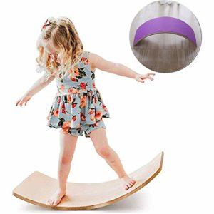 lxfy Simple Balance Board pour Enfants Pull Back Swing Balançoire en Bois Courbe Balance Board Affichage Yogaboard Jouets – Charge maximale 220kg – Idéal pour Wobble, Spin, Rock, Slide