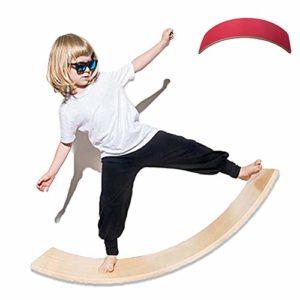 lxfy Waldorf Balance en Bois Board Mind Development Jouets éducatifs avec Couche de Feutre – Wobble Curvy Board pour Kid Reading Eating Training – Jouet d'équilibre pour Enfants