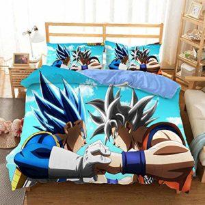 MEIPINPAI 3 pièces Housse de Couette 3D Dragonball Z Goku Doux Toutes Saisons Microfibre Ensembles de literie, avec 1 Housse de Couette, 2 taies d'oreiller