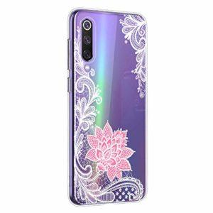 Oihxse Mandala Motif Case Compatible pour Xiaomi Redmi Note 6 Pro/Note 6 Coque Transparente Silicone TPU Souple Protection Etui Ultra Slim Mehndi Floral Datura Dentelle Housse Bumper (A6)