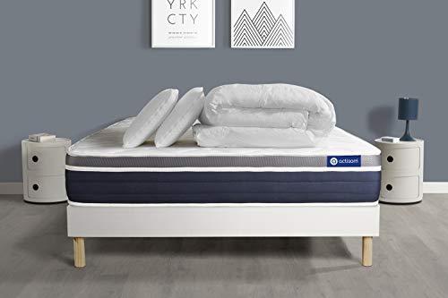Pack prêt à Dormir ACTIFLEX Confort Matelas Ressorts ensachés+mémoire de Forme 180×200 + sommier KIT Blanc +2oreillers+couet – Epaisseur : 26 cm – Confort : Mi-Ferme
