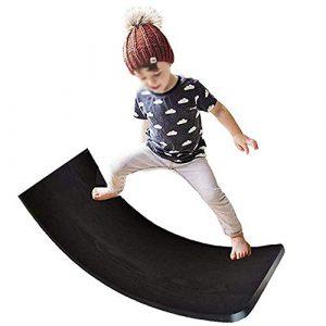 Planche d'équilibre en bois, planche Waldorf Kinder, planche d'équilibre Wobbel, jouet d'équilibre pour enfants Curvy Board, Wobble, Spin, Rock, Slide, jouets de planche de yoga à bascule pour enfants