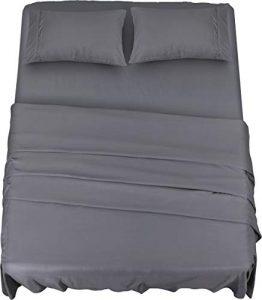 Utopia Bedding – Ensemble de draps 4 pièces – Doux microfibre brossé et résistant aux taches – Gris