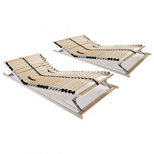vidaXL 2X Sommiers à Lattes avec 28 Lattes 7 Zones Base de Lit Sommier à Lattes Cadre de Lit à Lattes Robuste Durable Chambre Maison 90×200 cm FSC