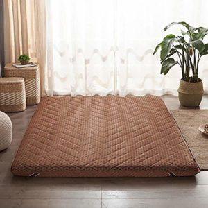 TOPYL Futon Matelas de rechange respirant pliable pour invités Japonais Futon Dormir Tapis de sol de rechange, Polyester, marron, 100x200cm(39x79inch)