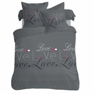 Vision Love 13067HC2 Parure Housse de Couette VISION-Love-200x200cm-100, Coton, Gris, x_200_cm