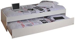 Weber Industries 23799 Lit Podium avec Tiroir et Sommier Mélamine Blanc 192,5 x 94 x 41,5 cm