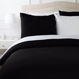 AmazonBasics Parure de lit avec housse de couette en microfibre, Noir, 200 x 200 cm