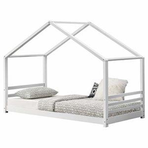 [en.casa] Lit d'enfant Lit Cabane Design Maison avec Sommier à Lattes Pin et Placage Bois Blanc Mat 206x98x142cm