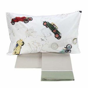 Fazzini Parure de lit 1 place en pur percale de coton avec impression numérique Tour
