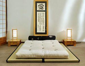 Futon On Line Combinaison 2 Tatamis(90x200x5,5cm) futon en Coton (160x200x14cm)