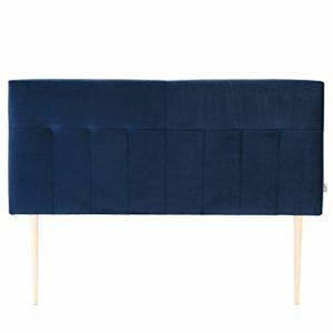 marcKonfort Tête de lit tapissée Napoles 160X100 cm Bleu, pour Couchage de 160, Velours, Pieds en Bois, quaincaillerie Incluse