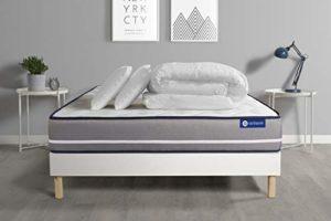 Pack prêt à Dormir Matelas à mémoire ACTIMEMO Pur 200x200cm 3zones de Confort + sommier KIT Blanc + 2 oreillers + Couette – Epaisseur : 20 cm – Confort : Ferme