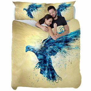 TIZORAX Housse de couette + 1 taie d'oreiller Gris foncé Chaud et Belle Confortable Oiseau Bleu Abstrait, Matériau en fibre chimique., Multicolore, Single quilt(55 x 79) + 1 pillowcase(20 x 30)inch