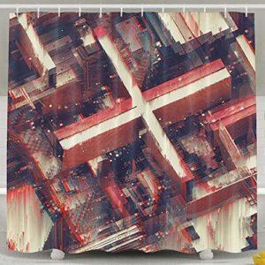 218 ZHENJIL Rideau de Bain, Abstract Art Line Red Digital Atelier Olschinsky Pattern Background Funny Shower Curtain 60x72inch