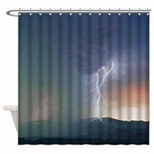 218 ZHENJIL Rideau de Bain, Shower Curtain with Hooks Nature Power Lightning Shower Curtain 60 x 72 inch