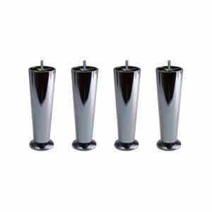 4 Pieds Coniques métal chromé Hauteur réglable 15 à 17 cm