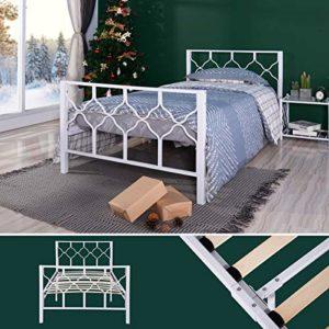 Aingoo Cadre de lit simple en métal avec lattes en bois, Blanc 90x190cm