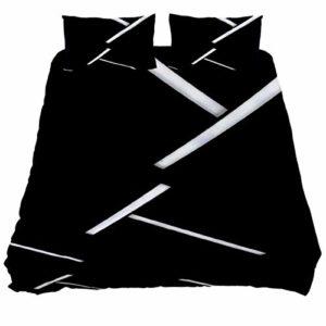 Audrey Brown Parure de lit légère avec housse de couette et taies d'oreiller pour lit double Noir/blanc, Coton, bleu, Super king