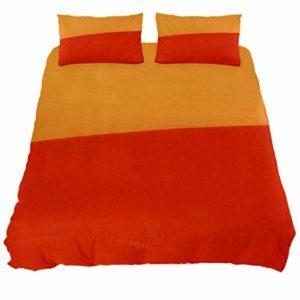 Audrey Parure de lit en coton doux avec housse de couette imprimée et coutures rouges Orange, Coton, bleu, Double