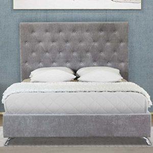 Cadre de lit moderne gris King size avec tête de lit élégante