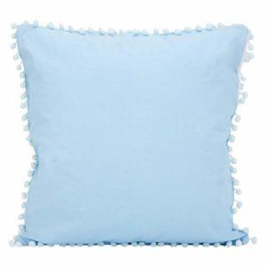 Derek 1 pièce Lumière Poids Solide Couleur Coton Pom Pom Jeter Taie d'oreiller,Disponible dans différent Couleurs Et Tailles(Bleu bébé,21.65 x 21.65 inch)
