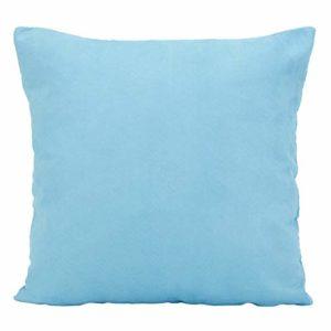 Derek 1 pièce Solide Couleur Faux Suède Décoratif Taie d'oreiller Coussin Couverture pour Canapé Jeter Oreiller Cas Disponible en 22 Couleurs & 7 Tailles(Bleu Ciel,19.75 x 19.75 inch)