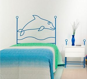 Dfierro i-509.090–Forge, Dauphin, pour Matelas 90cm Tête de lit, Bleu