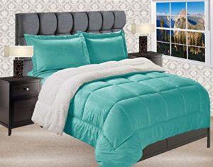 Elegant Comfort TM – Microvison réversible en Duvet réversible et Doux et Confortable de qualité supérieure., Turquoise uni., King