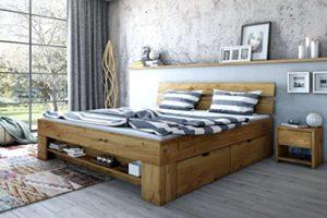 Elfo Lit futon en chêne Massif huilé avec 4 tiroirs de lit, étagère à Pieds exsopo 140 cm